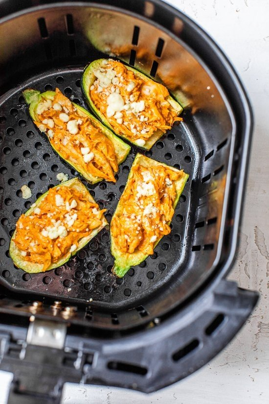 Air Fryer Buffalo Chicken Zucchini Skins