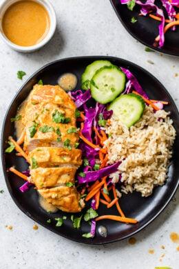 Peanut-Braised Chicken Breasts over rice