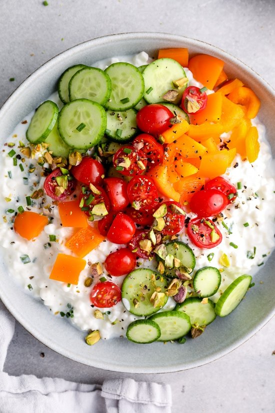 cottage cheese topped with veggies