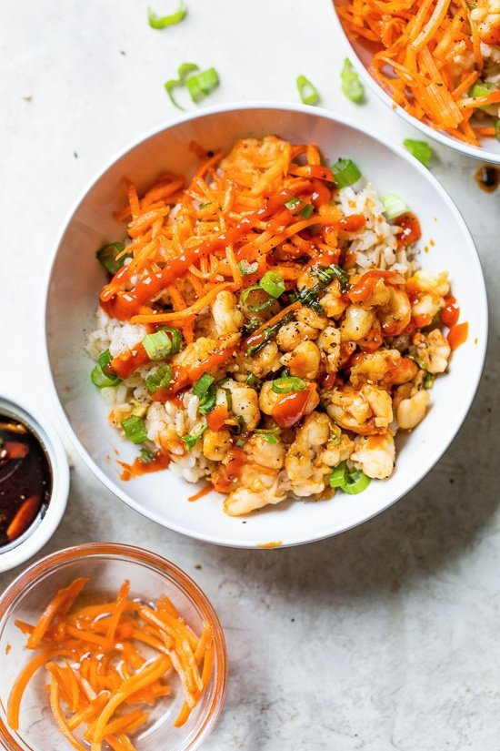 Shrimp Dumpling Rice Bowls