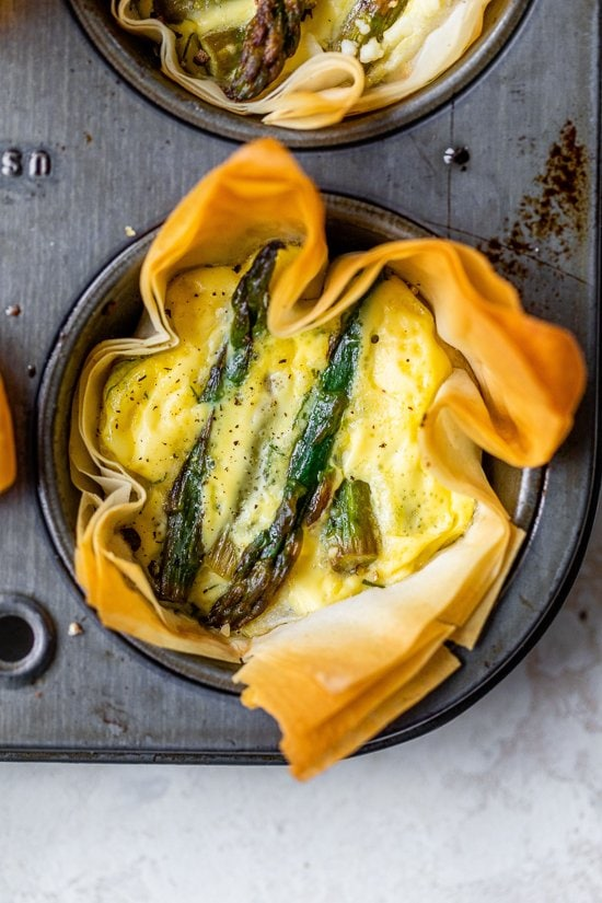 Asparagus and Feta Tartlet with Phyllo Crust
