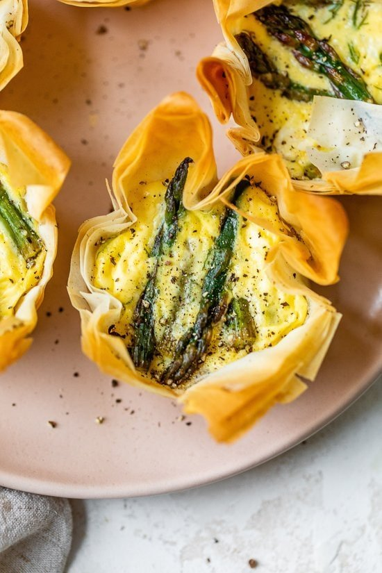 Asparagus and feta tartlets with a phyllo crust