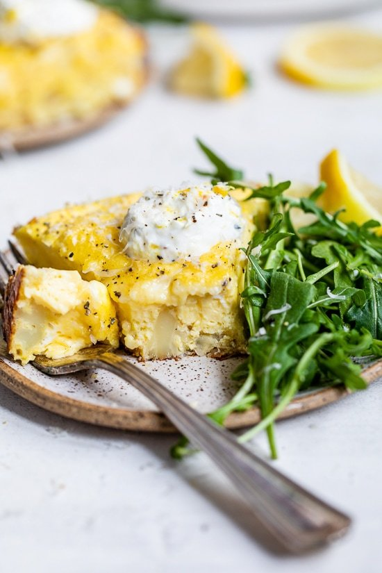creamy fritatta with yogurt and cauliflower