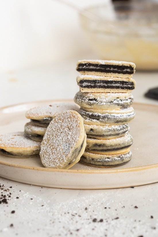 Fried Oreo thins, stacked on a plate.