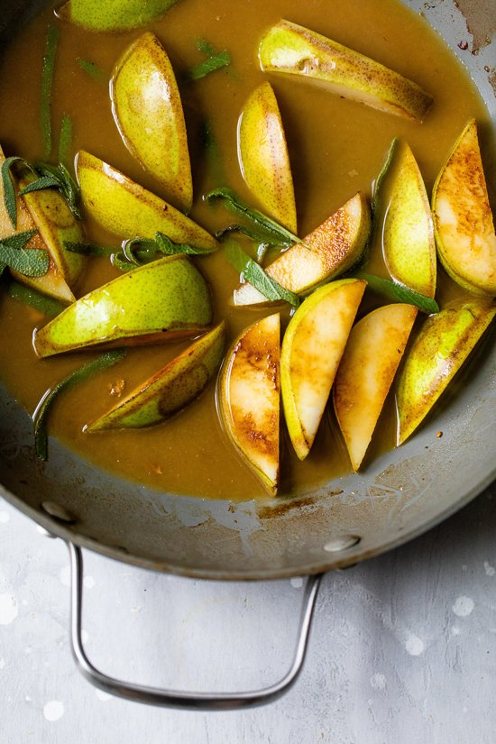 pears in pan drippings