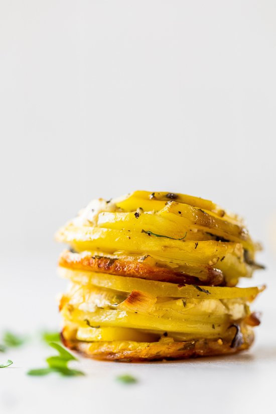 Layered Potato Cups with Spring Herbs and Leeks