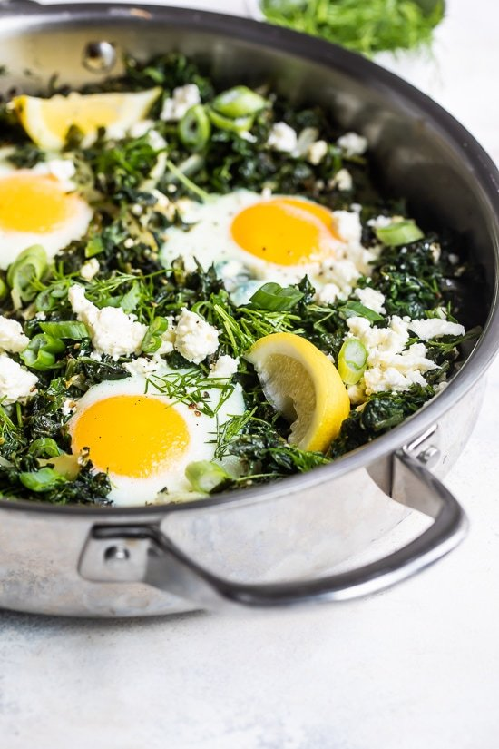 baked eggs with spinach.
