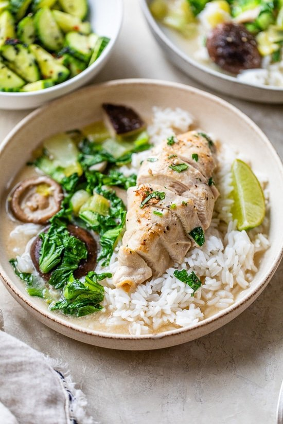 Coconut-Simmered Chicken with Bok Choy and Mushrooms