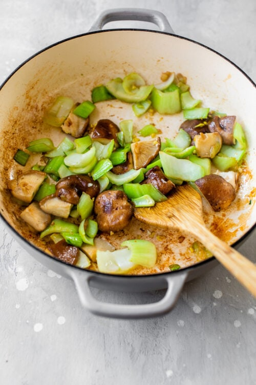 mushrooms and bok choy
