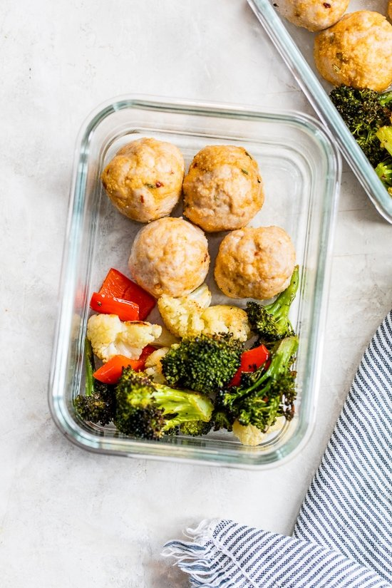 meal prep meatballs and veggies