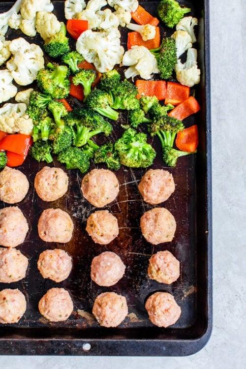how to make sheet pan meatballs and veggies