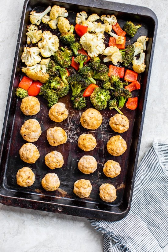 sheet pan meatballs and veggies