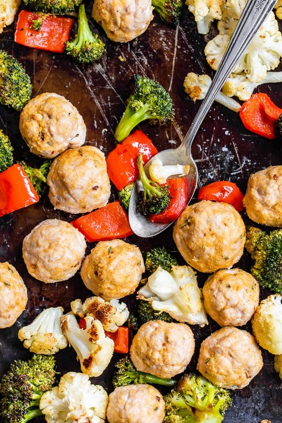 Italian Turkey Meatball Sheet Pan