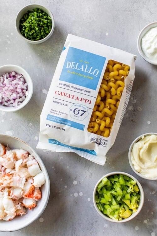 ingredients for lobster roll pasta salad