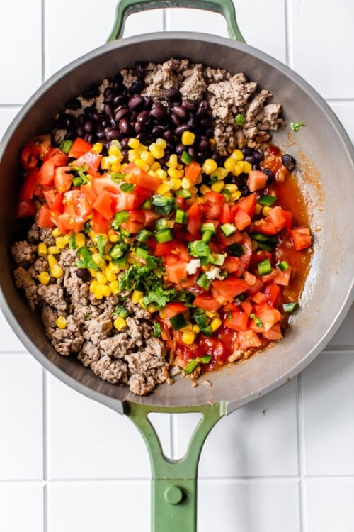 Ground Turkey Skillet with Zucchini, Corn, Black Beans and Tomatoes