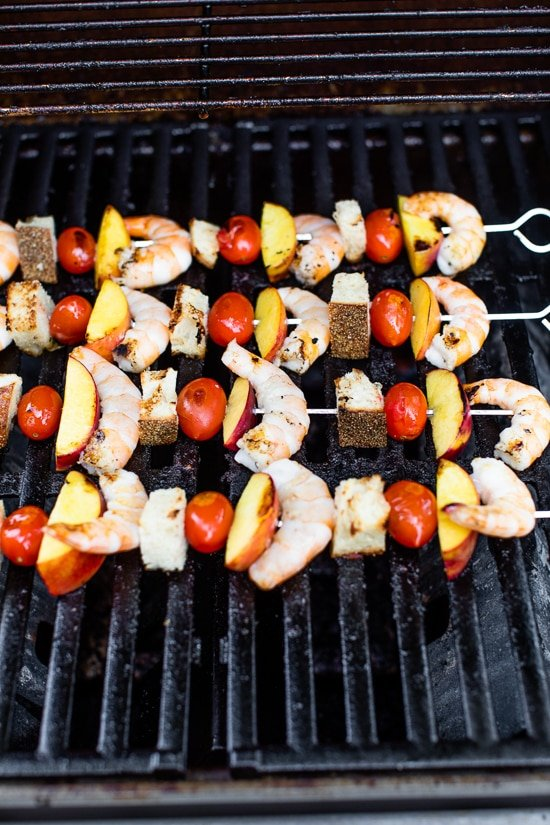 Shrimp Skewers with Peaches and Tomatoes