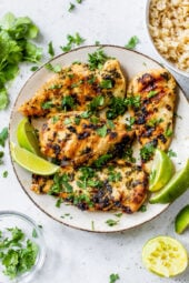 grilled chicken with cilantro and lime