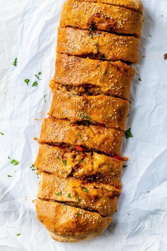 sausage and pepper stromboli bread