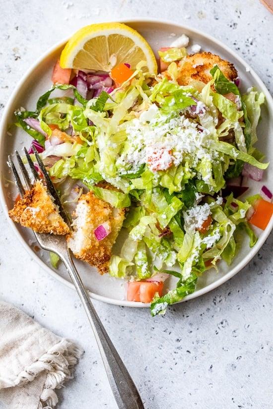 Chicken Milanese with Mediterranean Salad
