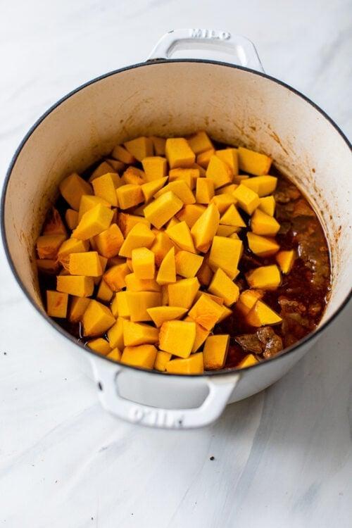pumpkin added to stew