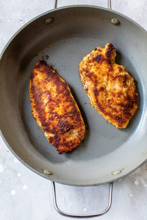 lightly pan fried chicken cutlets