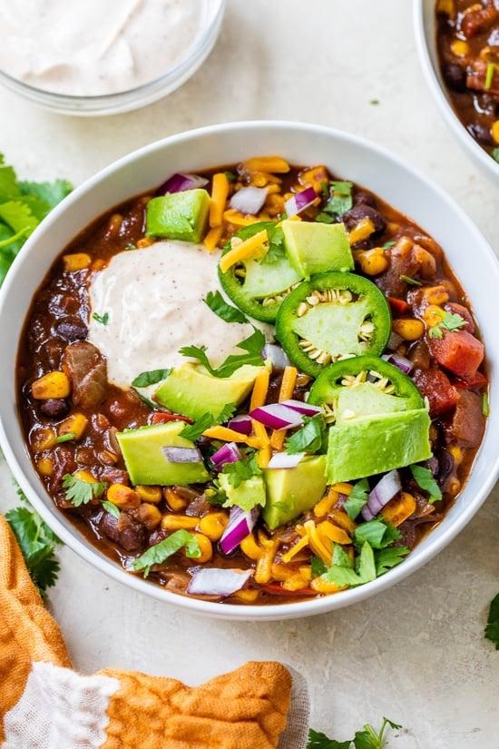 Zwarte Bonen Vegetarische Chili