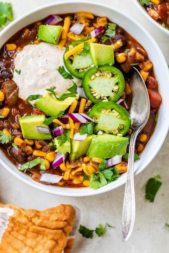 vegetarische zwarte bonen chili