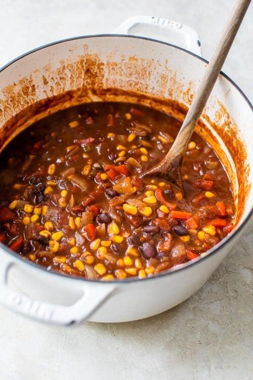 Pot of Black Bean Vegetarian Chili