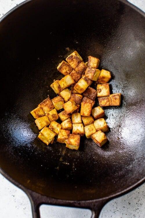 tofu in a wok